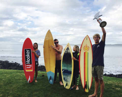 King of the Single Fin L-R: Gabby Sansom (4th), Jayden Willoughby (3rd), Mikey Banks (2nd) & Taylor Hutchison (1st).  Image thanks to Kyle Leuthart.