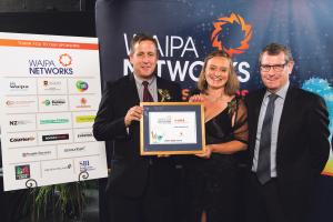 Trustpower Excellence in Customer Service Raglan winner: Raglan Rock Ltd. From left: Richard Preest, Anne Windust and                          Gareth and Sarah Jones.