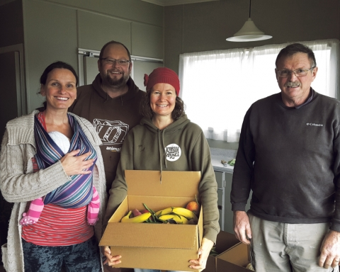 From left: Sandra with baby Freia, Alex Crane, Nic Wylie and Trevor Edgeworth                                           who help out weekly at Raglan's Foodtogether hub.