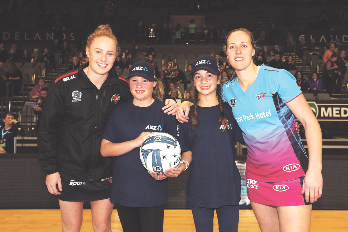 ANZ Future Captains Kowhai-Pearl Rumbal (L) and Tiari Gibson (R) pictured with Magic captain Samantha Sinclair and Steel captain Wendy Frew ahead of the ANZ Premiership netball match.