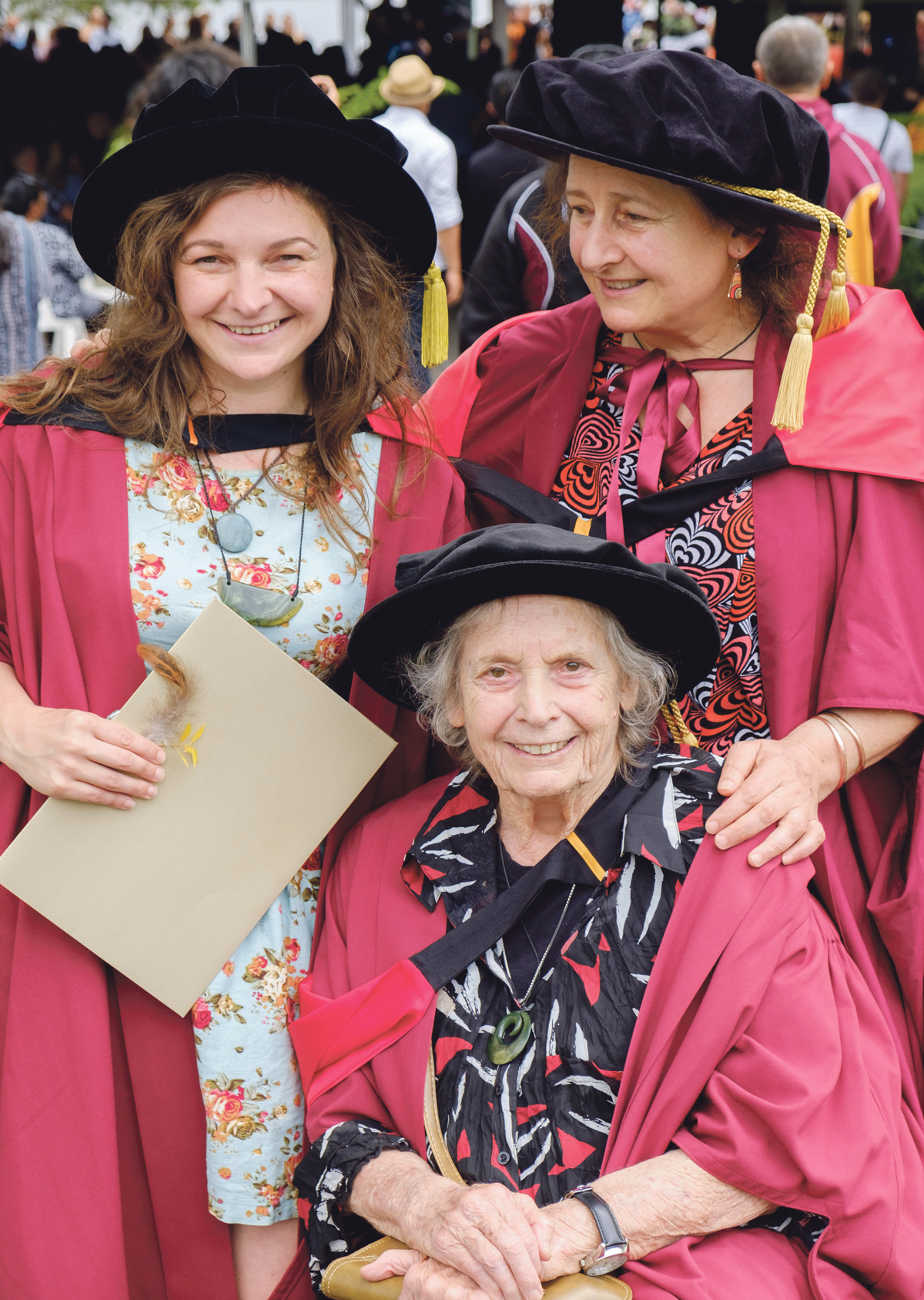 Three generations of Ritchie women in their PHD regalia, clockwise from left: Isa, Jenny and Jane Ritchie during Isa's graduation.