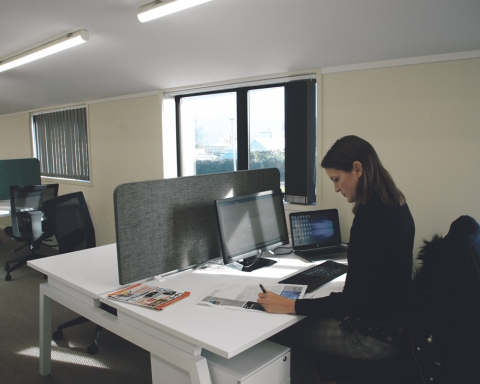 Hayley Willers at work in the new collaborative space in Raglan, The HQ, which is located above Bizworx on Wallis Street.