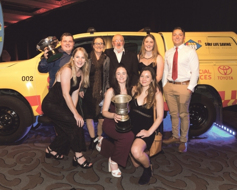 The Raglan Surf Life Saving team celebrate success at the annual                          Toyota Financial Services Surf Life Saving Noirthern Region Awards of Excellence.