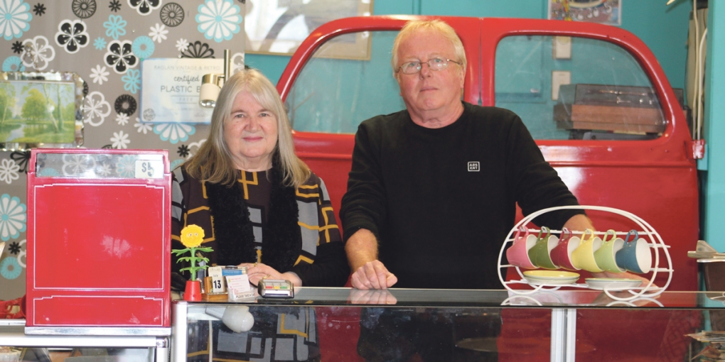 Raglan Vintage & Retro owners Sue and Paul Marrow are looking forward to retirement, travel and indulging new interests.