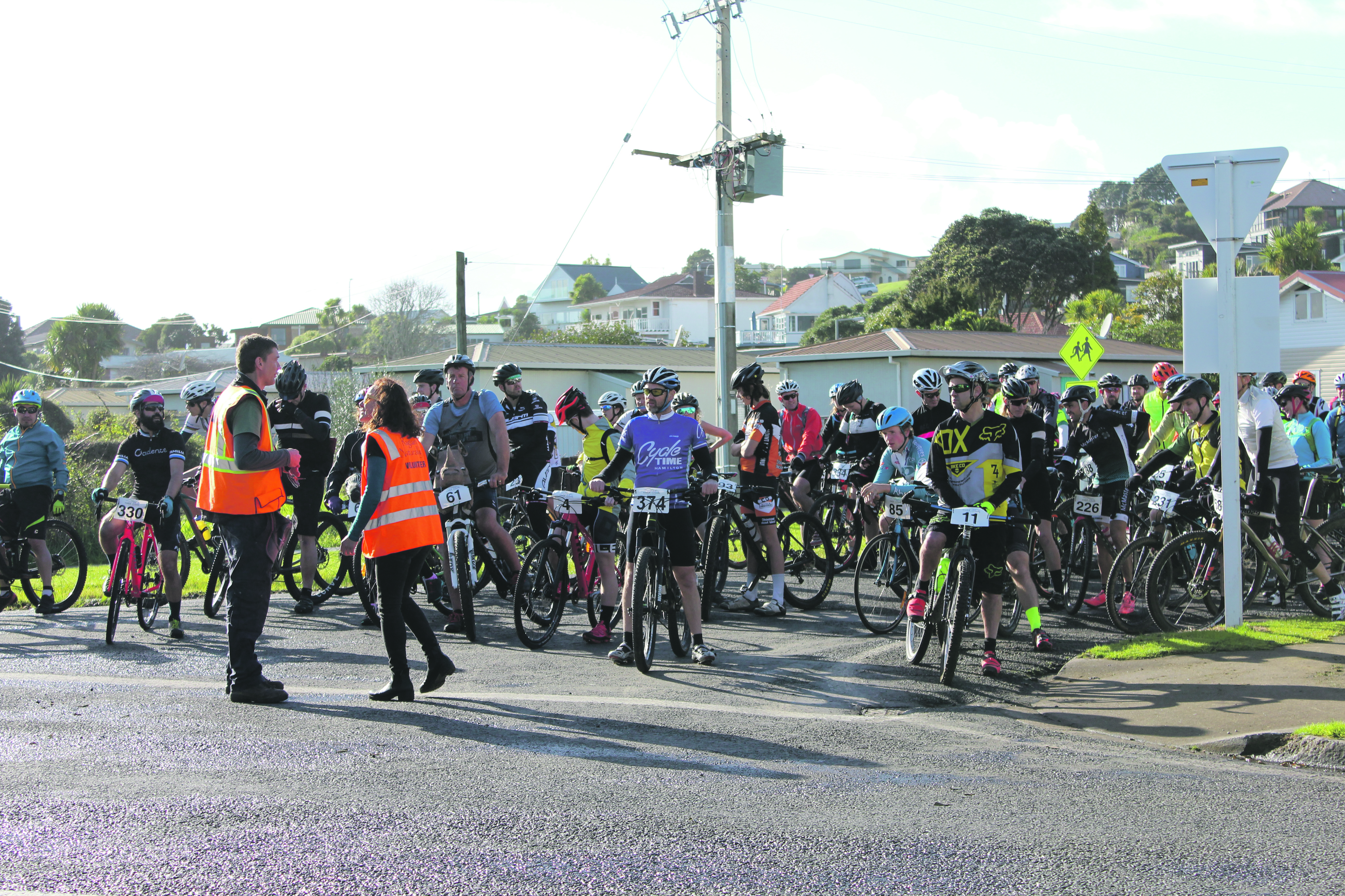 Cyclists await the start of the Karioi Classic.