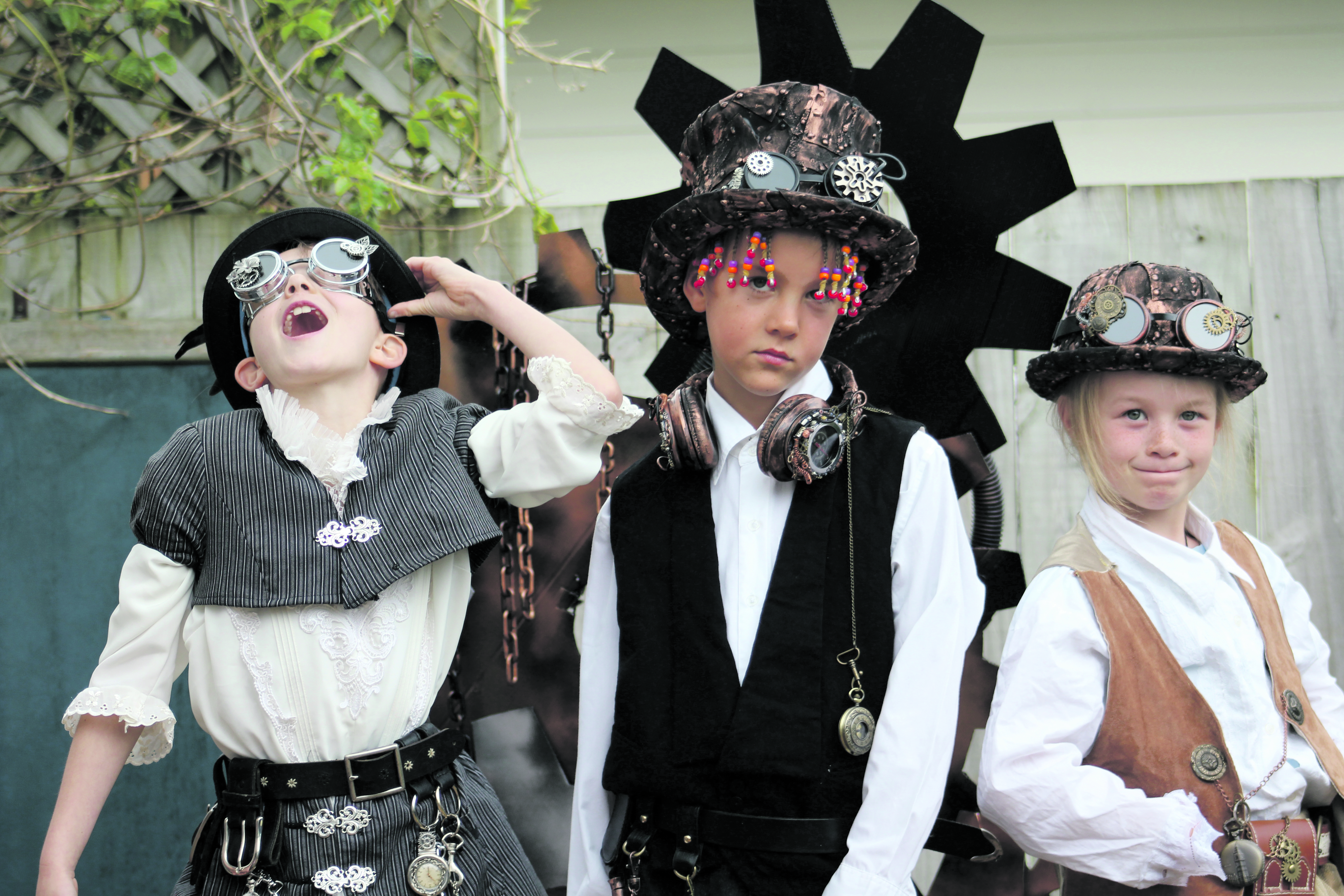 From left Nia Hosking, 7, Ed Woolston, 8 and Amarda Rolton                                           are getting steampunked.