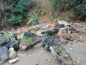 Debris from slip shows material that was potentially used as retaining from the property above.