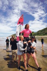 U16 Girls title winner Brie Bennett.  Image: Cory / NZ Surfing Magazine.