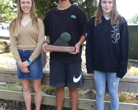 Raglan Area School rising sports stars Sasha Kirkwood, Dayton Keremeta and Adi-Grace Mooar with the Richard Keremeta Sports Ambassador Award.