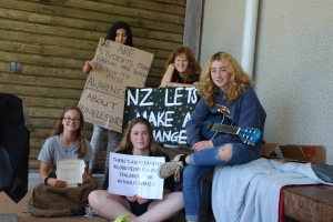 Raglan Area School students take to the streets to talk about homelessness - Sophie Higgins, Brooke Ahern, Paris Teddy, Griffin Pohutukawa and Lydie Madsen.