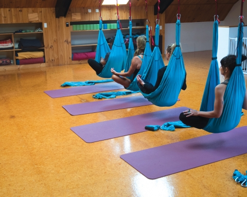 Aerial yoga classes were held at the Raglan Yoga Loft a few weeks ago.  Images//Geraldine Burns