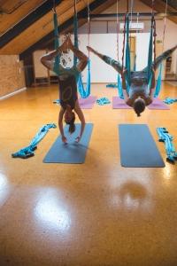 Aerial yoga classes were held at the Raglan Yoga Loft a few weeks ago.  Images//Geraldine Burns
