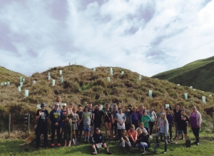 Community volunteers along with Te Mata School students helped with planting at the south end of Ruapuke.