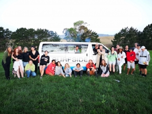 Some of the Surfside Youth crew last Friday night at the Okete farm.