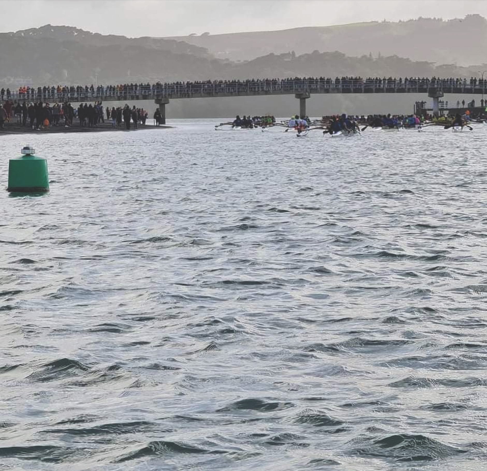 A large crowd watches the hoe from the wakbridge